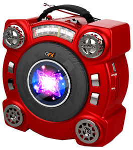 QFX CS-243 Portable Multimedia Disco Light Speaker with FM Radio and USB//Micro SD Port Red